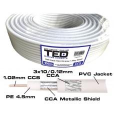 Cablu coaxial RG 6 TRISHIELD, alb